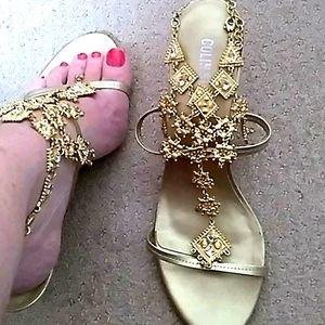Colin Stuart Gold Bling Sandals Size 10